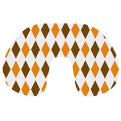 Brown Orange Retro Diamond Copy Travel Neck Pillows