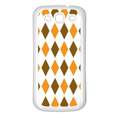 Brown Orange Retro Diamond Copy Samsung Galaxy S3 Back Case (White)
