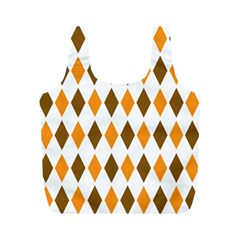 Brown Orange Retro Diamond Copy Full Print Recycle Bags (M)