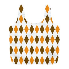 Brown Orange Retro Diamond Copy Full Print Recycle Bags (L)