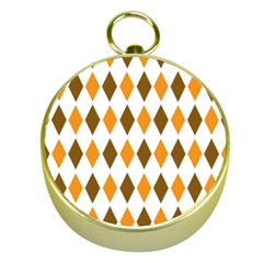 Brown Orange Retro Diamond Copy Gold Compasses