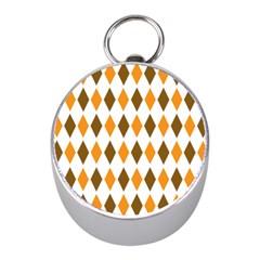 Brown Orange Retro Diamond Copy Mini Silver Compasses