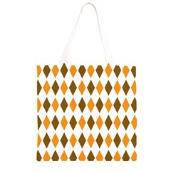Brown Orange Retro Diamond Copy Grocery Light Tote Bag