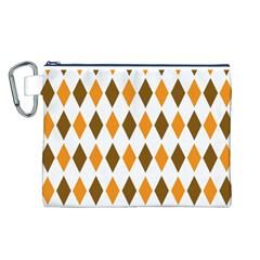 Brown Orange Retro Diamond Copy Canvas Cosmetic Bag (L)