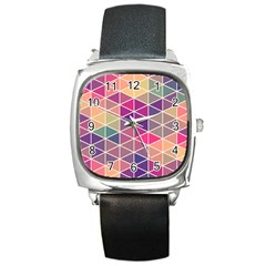 Chevron Colorful Square Metal Watch