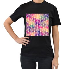 Chevron Colorful Women s T-Shirt (Black) (Two Sided)