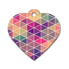 Chevron Colorful Dog Tag Heart (One Side)
