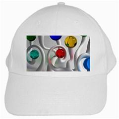 Colorful Glass Balls White Cap