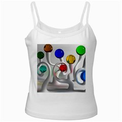 Colorful Glass Balls White Spaghetti Tank