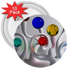 Colorful Glass Balls 3  Buttons (10 pack)