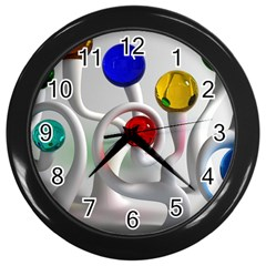 Colorful Glass Balls Wall Clocks (Black)