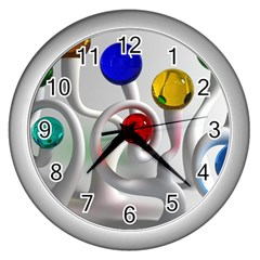 Colorful Glass Balls Wall Clocks (Silver)