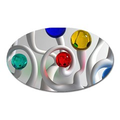 Colorful Glass Balls Oval Magnet