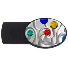 Colorful Glass Balls USB Flash Drive Oval (2 GB)