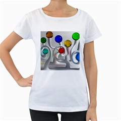 Colorful Glass Balls Women s Loose-Fit T-Shirt (White)
