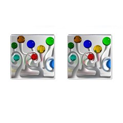 Colorful Glass Balls Cufflinks (Square)