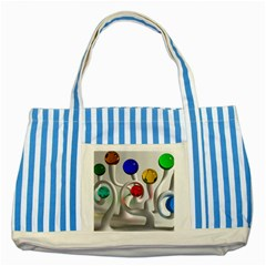 Colorful Glass Balls Striped Blue Tote Bag