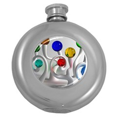 Colorful Glass Balls Round Hip Flask (5 oz)