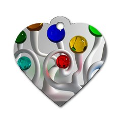 Colorful Glass Balls Dog Tag Heart (Two Sides)