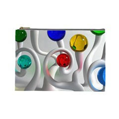 Colorful Glass Balls Cosmetic Bag (Large)