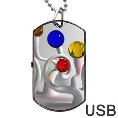 Colorful Glass Balls Dog Tag USB Flash (One Side)