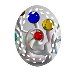 Colorful Glass Balls Ornament (Oval Filigree)