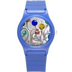 Colorful Glass Balls Round Plastic Sport Watch (S)