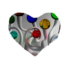 Colorful Glass Balls Standard 16  Premium Heart Shape Cushions
