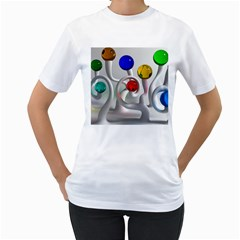 Colorful Glass Balls Women s T-Shirt (White)