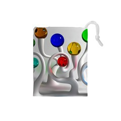 Colorful Glass Balls Drawstring Pouches (Small)