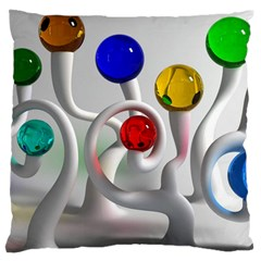 Colorful Glass Balls Large Flano Cushion Case (One Side)