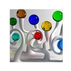 Colorful Glass Balls Small Satin Scarf (Square)