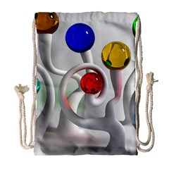 Colorful Glass Balls Drawstring Bag (Large)