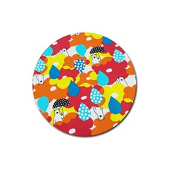 Bear Umbrella Rubber Round Coaster (4 pack)