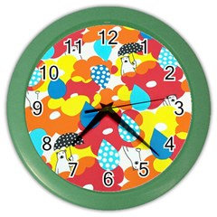 Bear Umbrella Color Wall Clocks
