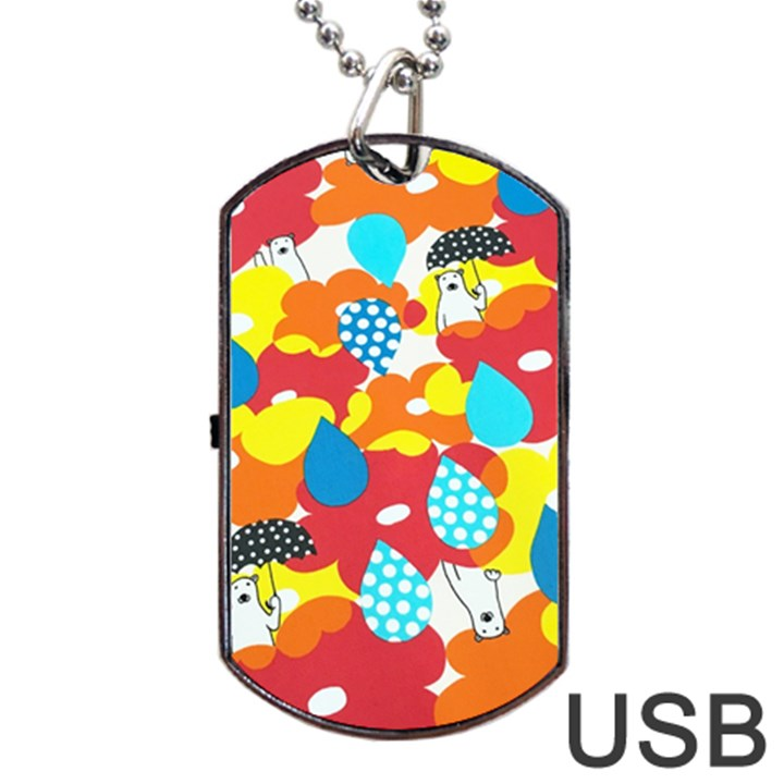 Bear Umbrella Dog Tag USB Flash (Two Sides)