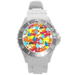 Bear Umbrella Round Plastic Sport Watch (L) Front
