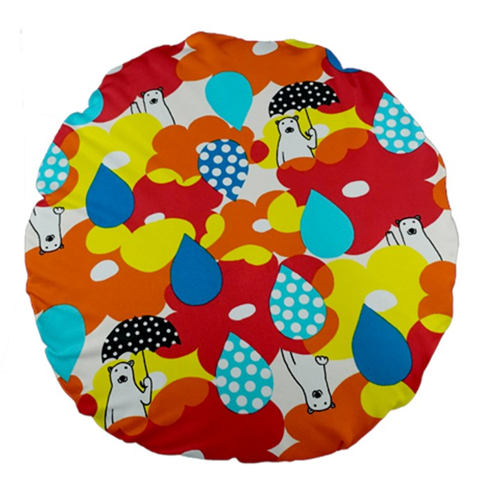 Bear Umbrella Large 18  Premium Round Cushions