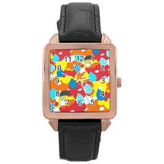 Bear Umbrella Rose Gold Leather Watch