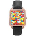 Bear Umbrella Rose Gold Leather Watch  Front