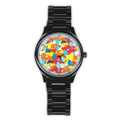 Bear Umbrella Stainless Steel Round Watch