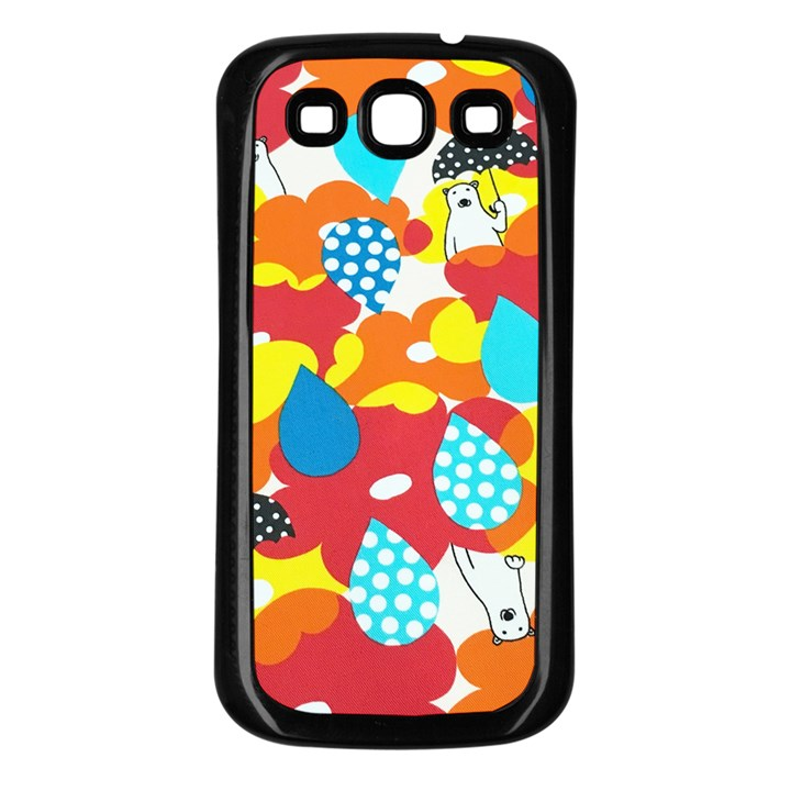 Bear Umbrella Samsung Galaxy S3 Back Case (Black)
