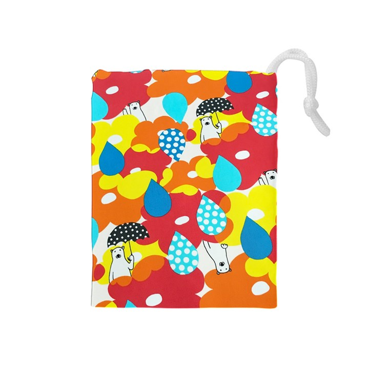 Bear Umbrella Drawstring Pouches (Medium)