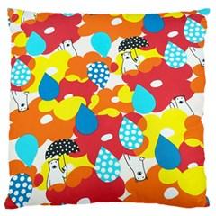 Bear Umbrella Large Flano Cushion Case (one Side)