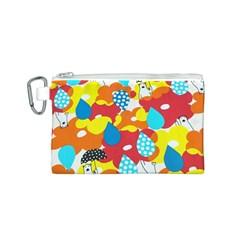 Bear Umbrella Canvas Cosmetic Bag (S)