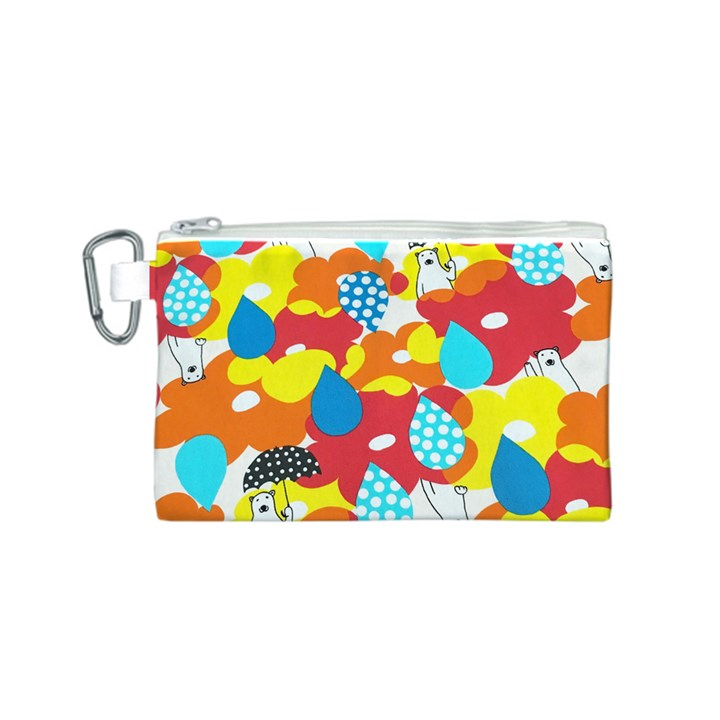 Bear Umbrella Canvas Cosmetic Bag (S)