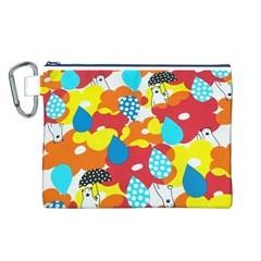 Bear Umbrella Canvas Cosmetic Bag (L)