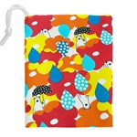 Bear Umbrella Drawstring Pouches (XXL) Back