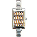 Cute Cat Hand Orange Rectangle Italian Charm Watch Front