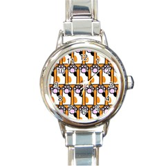 Cute Cat Hand Orange Round Italian Charm Watch